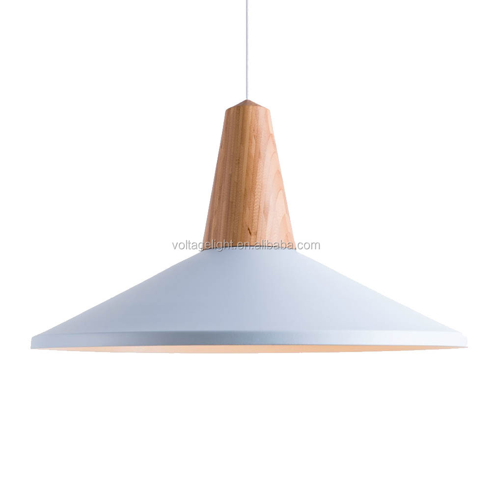 Decorative Wood Aluminum Pendant Light Modern Metal Hanging ...