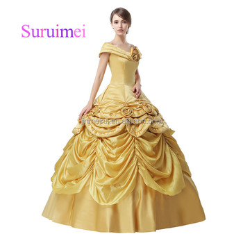 Real Pictures Gold Satin Ball Gown Wedding Dresses Robe De Mariee Champagne Bridal Gowns 2018 New