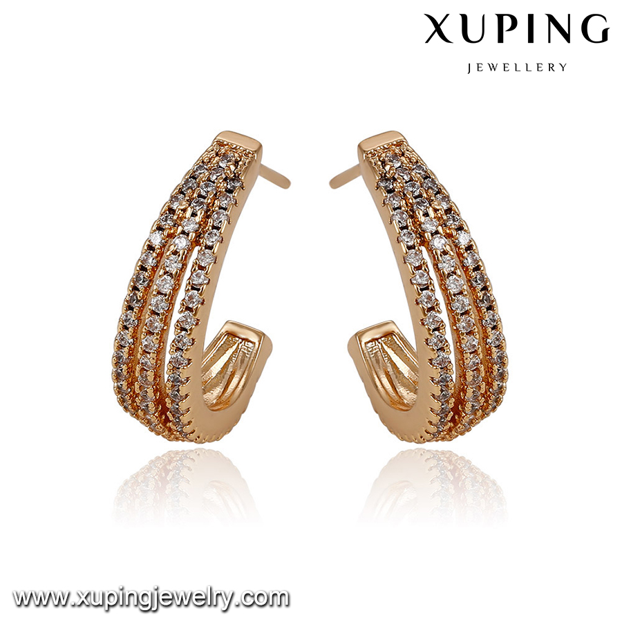 93029-zircon jewelry fashion 18k gold artificial jewellery earrings online