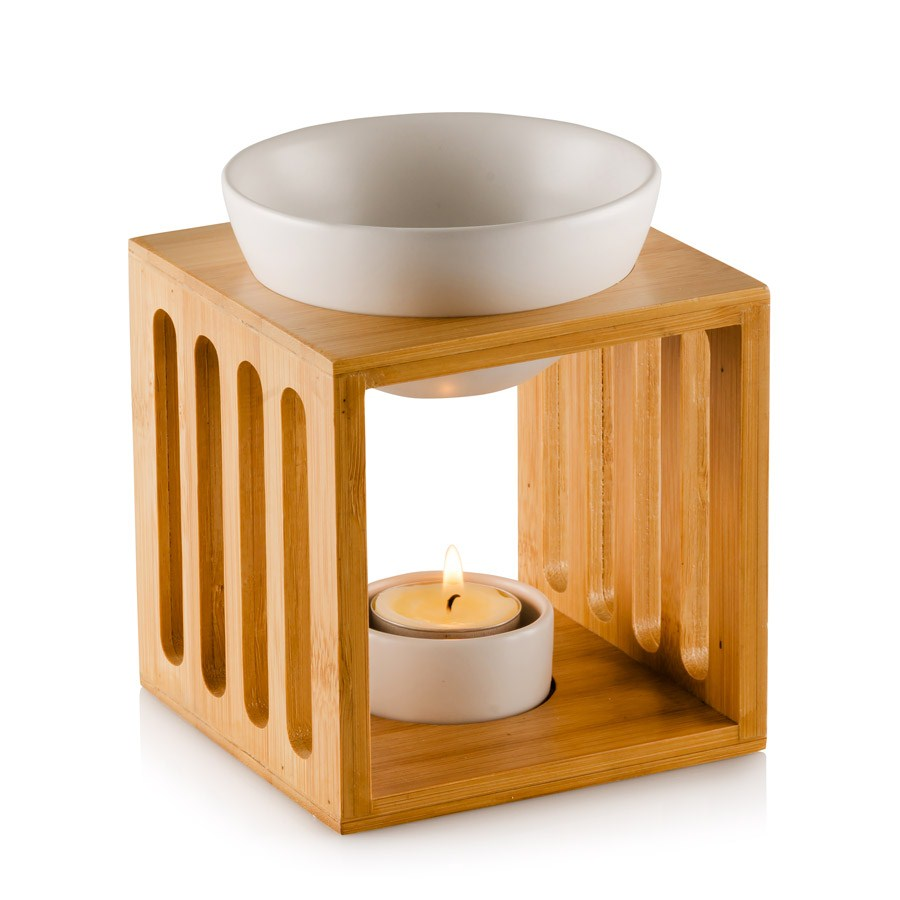 Ceramic Oil Burner ~ Modern design ceramic wooden square oil burner