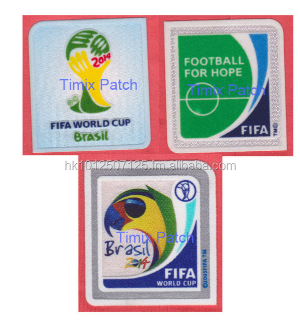 Self-adhesive 3D flock transfer badges world cup 2014 Brazil patch