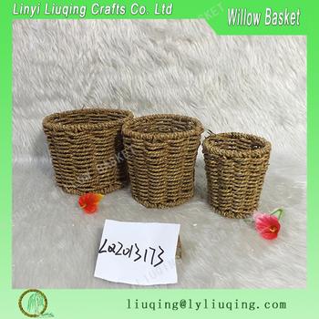 Hand Woven Round Seagr Waste Paper Basket