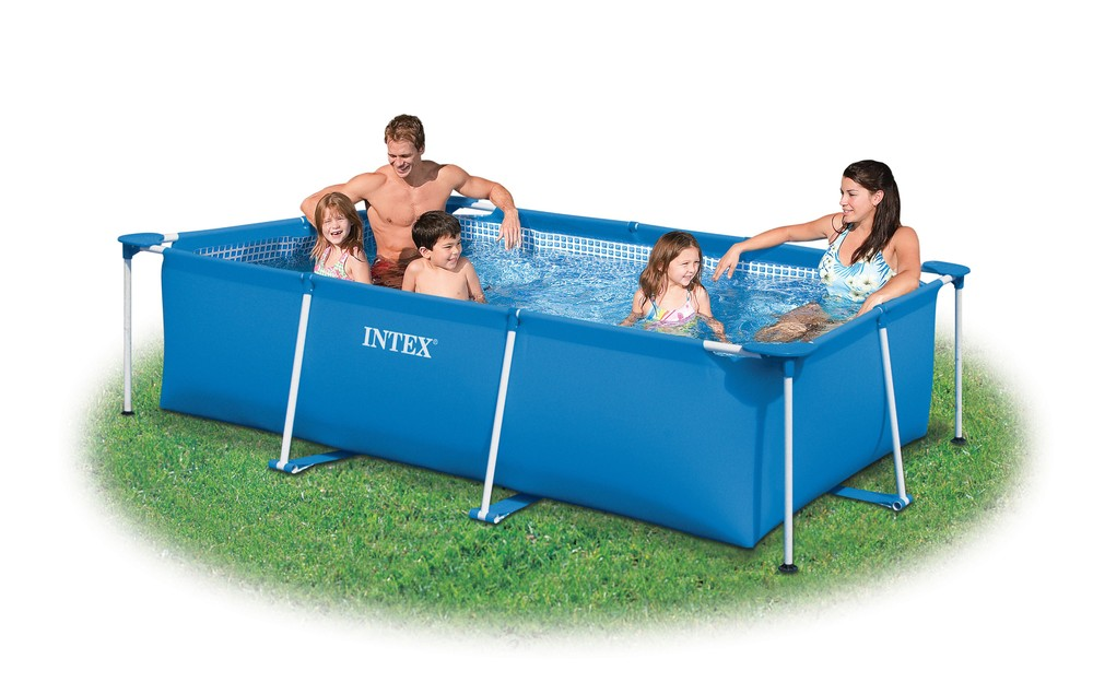 High quality outdoor rectangular plastic INTEX swimming pool for family use