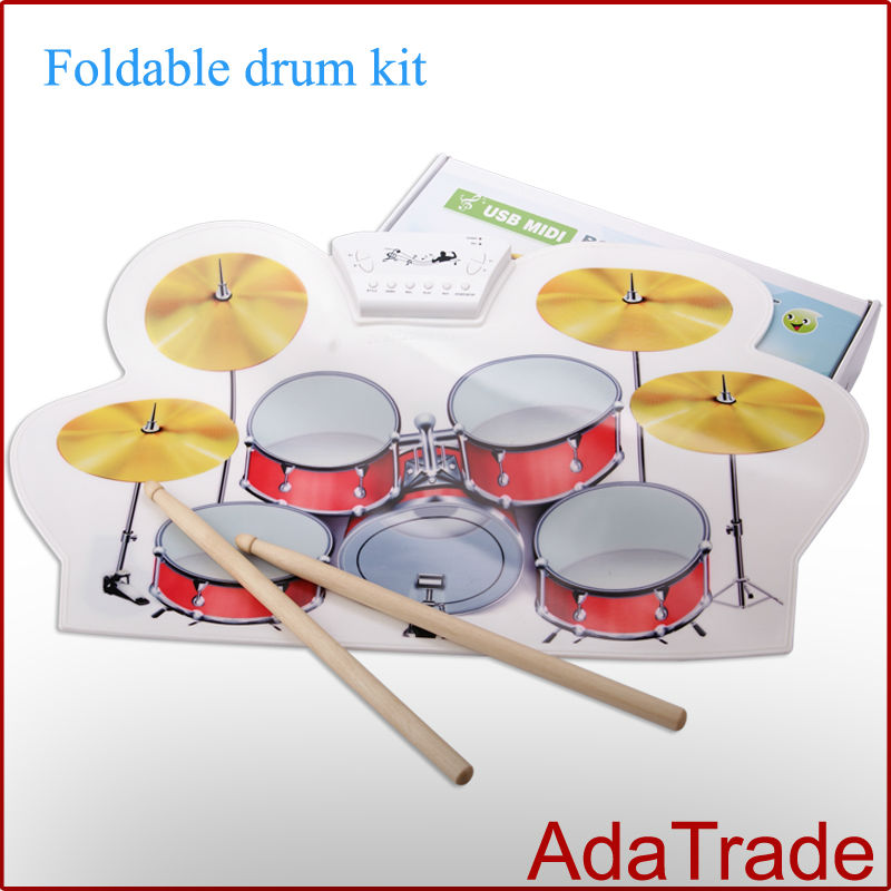 free shipping by dhl usb drum midi roll up electronic drum kit portable universal drums. Black Bedroom Furniture Sets. Home Design Ideas