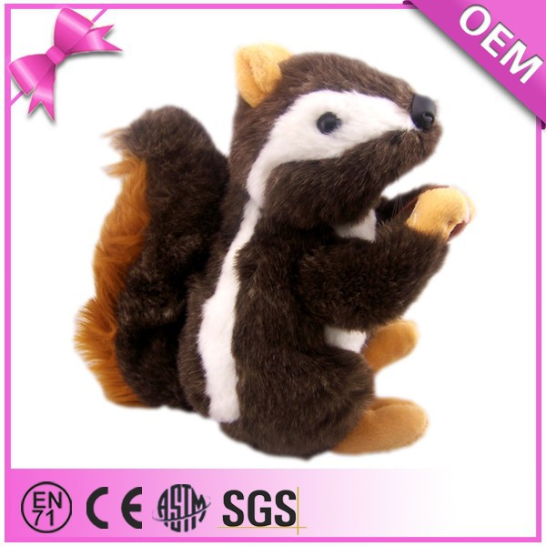 Hot sale lifelike Black With White Long Plush Fluffy Plush Squirrel