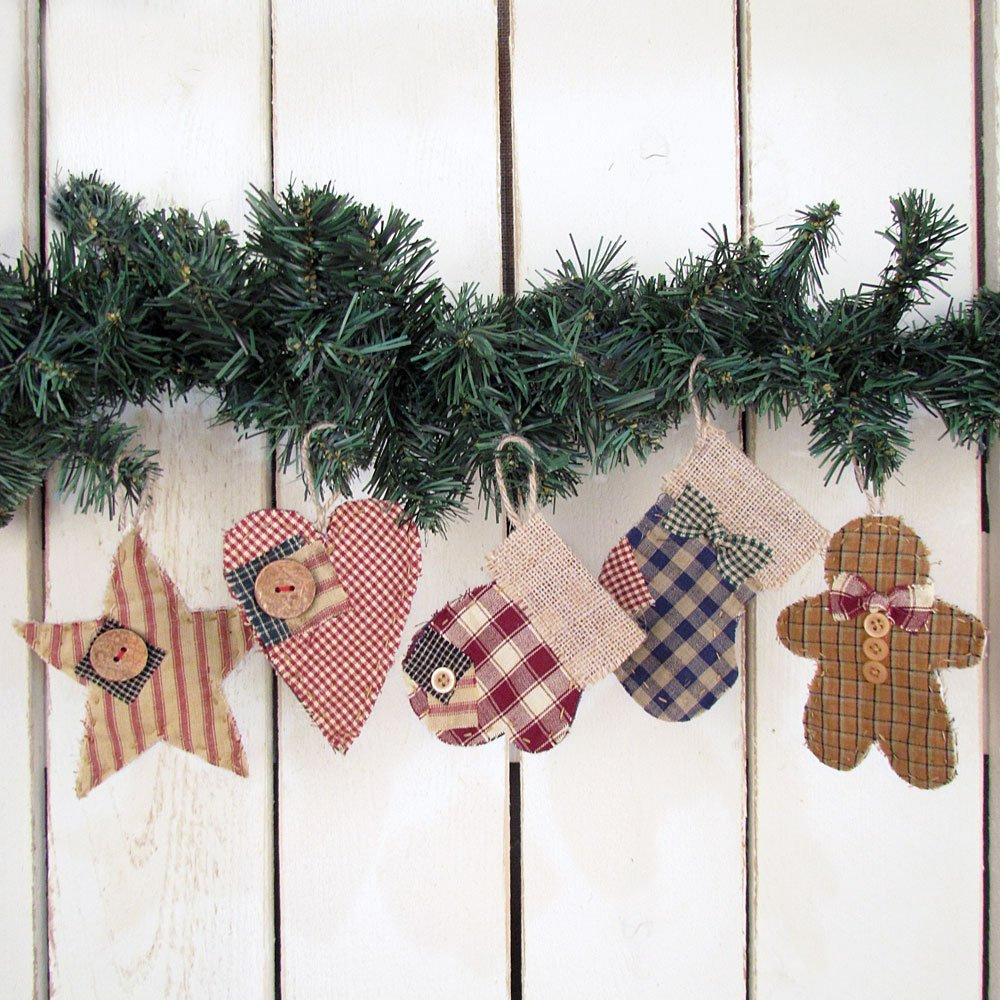 get quotations set of 5 quilted homespun fabric burlap primitive christmas ornaments by jubilee creative studio - Primitive Christmas Ornaments