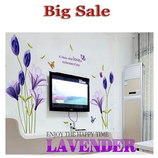 2 lot The Purple Lily Flower Romantic Landscape Wall Stickers Living Room Sofa Removable Wall Environmental Protection