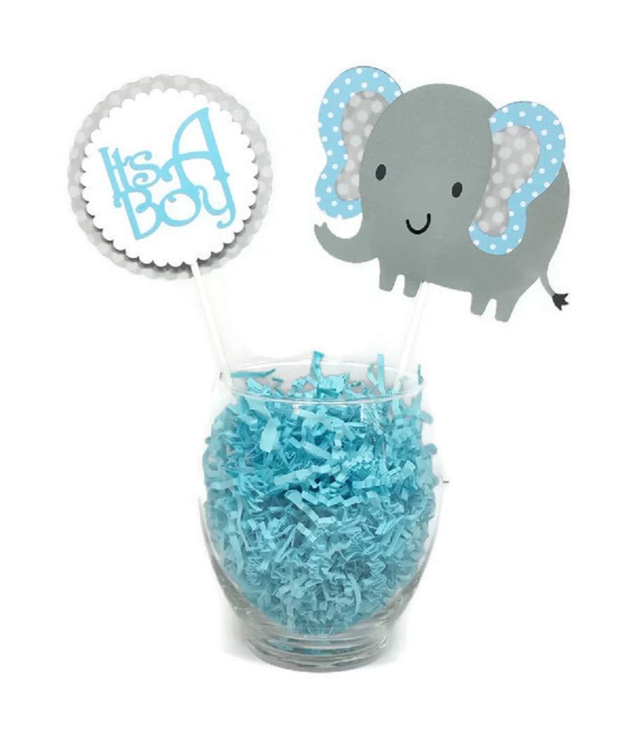 Baby Boy Elephant Centerpiece Sticks Blue & Gray Polka Dot Baby Shower Party Decor