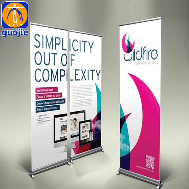 Aluminum scrolling display banner stand retractable roll up banner size