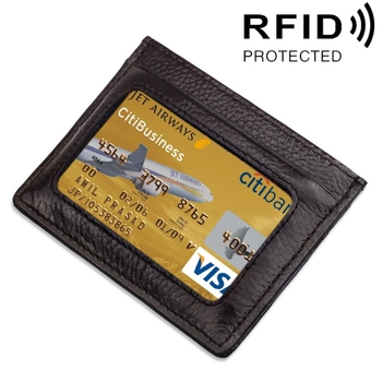 New products Cowhide Leather Litchi Texture Open Type Solid Color Card Holder RFID Blocking Card Bag Protective Case