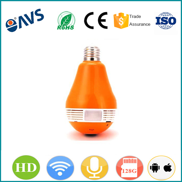 180 Degree Viewing Angle Orange Mini Hidden Wifi Bulb Camera