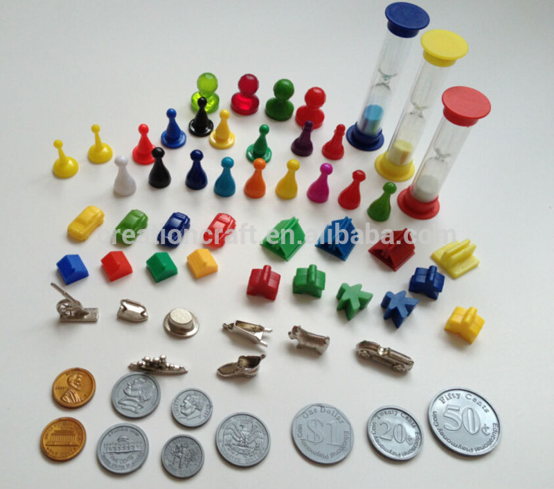 Custom Board Game Pieces Game Dice Pawns Tokens Spinner Coins Play Money -  Buy Board Game Pieces,Board Game Pawns,Plastic Game Spinners Product on