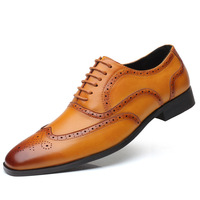 Cheap price men's brogues brown shoes microleather men dress shoes , cheap price wholesale plus size Formal Shoes
