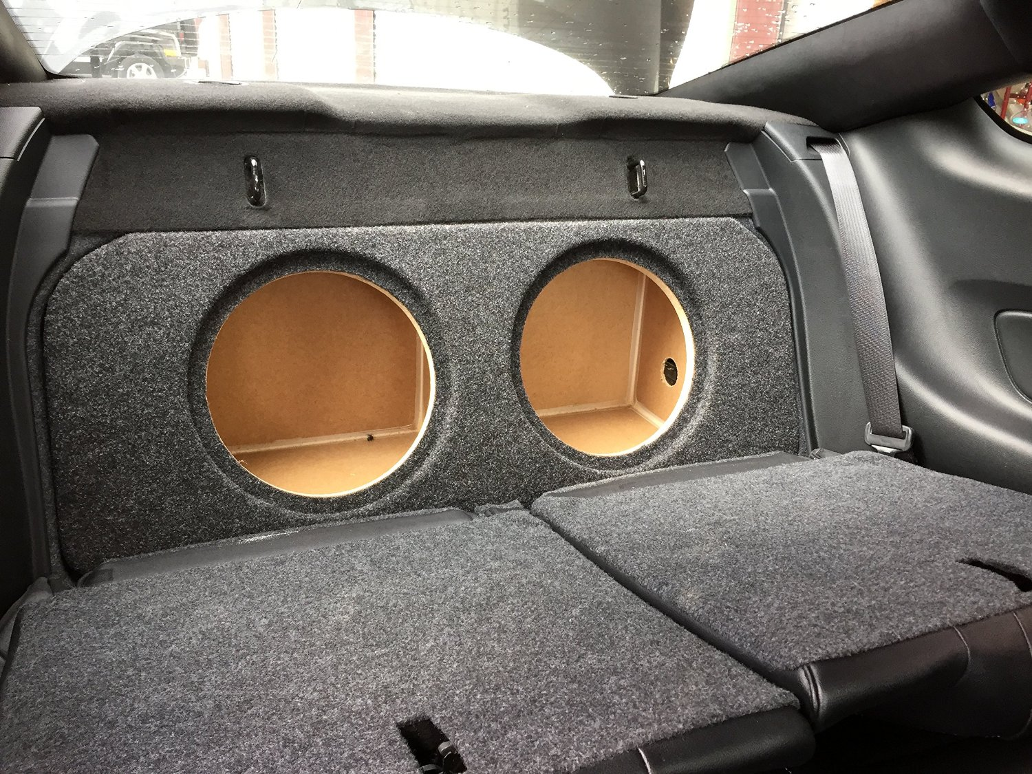 "Zenclosures 2015-2016 Mustang 2-10"" Subwoofer Box W/recessed Mounting Holes, FRONT FIRE - Charcoal, Version 2"