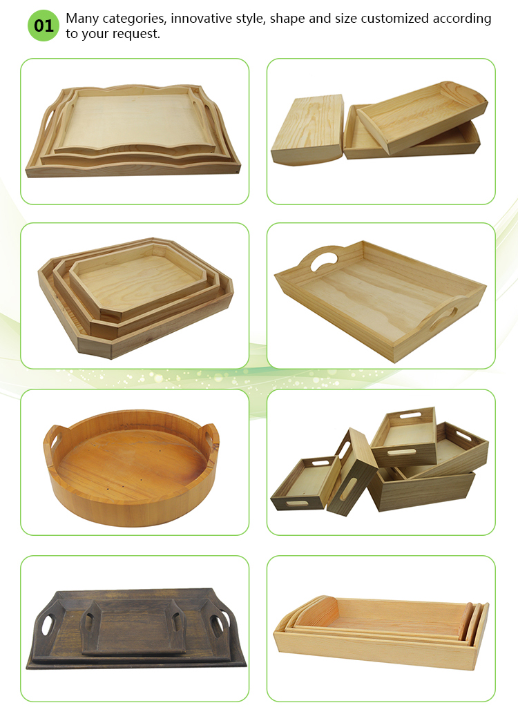 Unfinished food wooden serving trays with handles