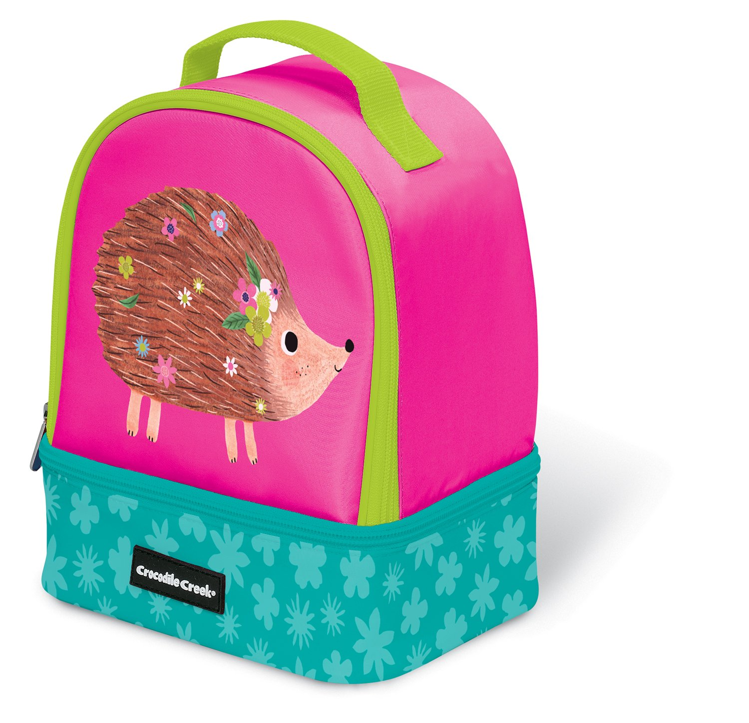 3ec0aa64ed Get Quotations · Crocodile Creek Eco Pink Hedgehog Two Compartment Kids   Lunchbox Insulated Lunch Box with Handle