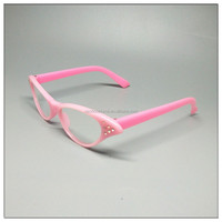 simple design plastic wooden reading glasses cat optical frames Optical Prescription Glasses Frame pink Women Clear Lens Plastic
