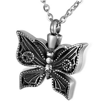 Low MOQ Human Funeral Keepsake Jewellery Butterfly Design Titanium Pendant Forever Love Stainless Steel Memorial GHP178