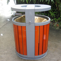 2 compartments outdoor wooden trash bin/trash can