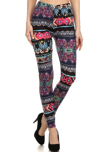 Wholesale Womens Leggings Mix Abstract Aztec Paisley Print Tights Poly Brushed