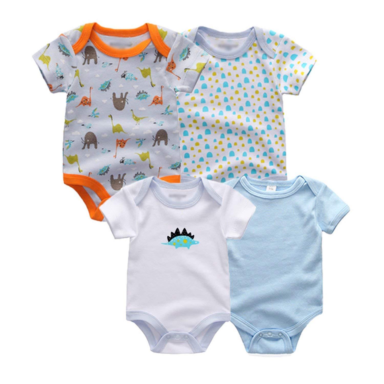 Gouache 4 Pcs/Lot Newbron Summer Short Sleeve Baby Bodysuit Boy Girl Cotton Baby Jumpsuit