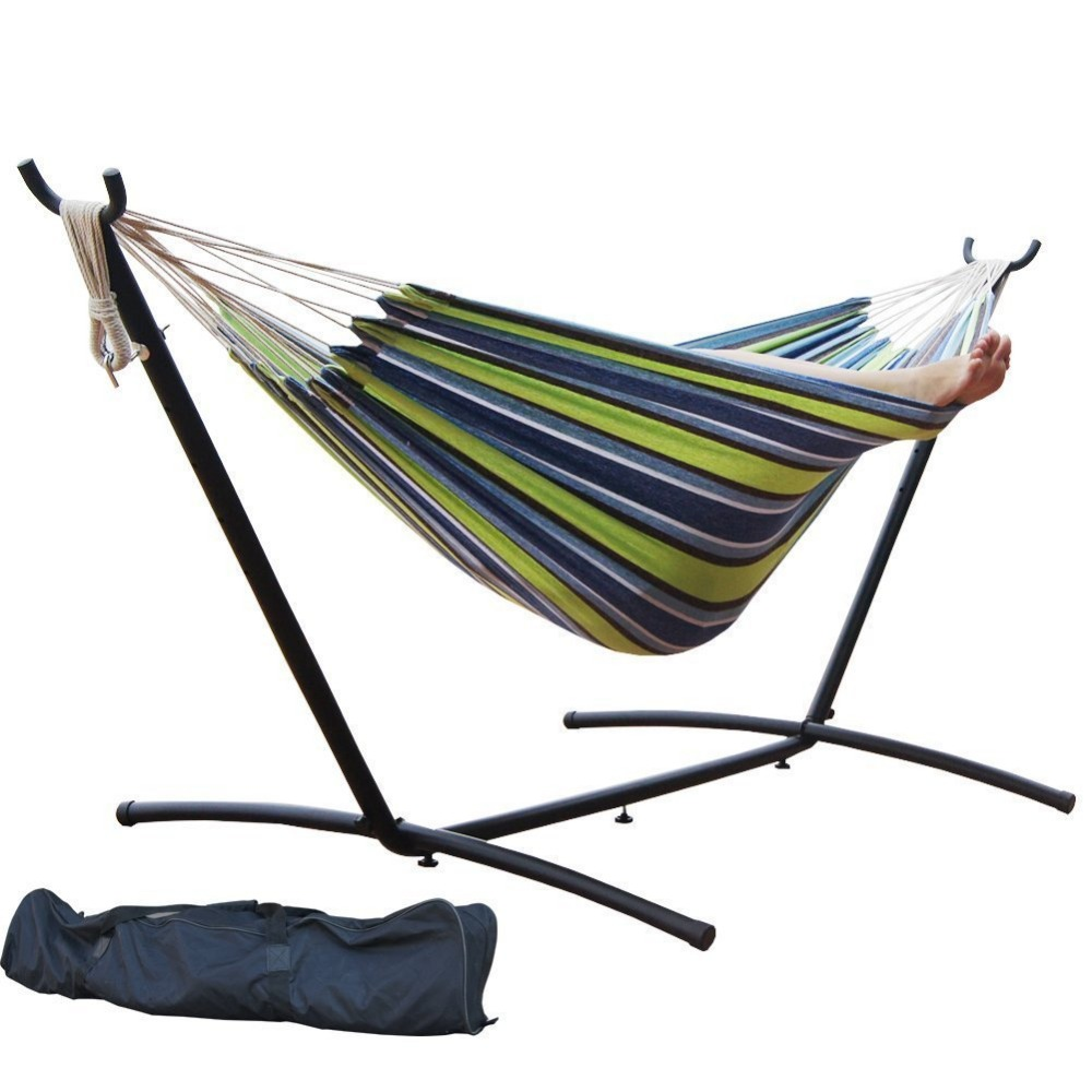 polyester with frame patio stand pin metal gear sleeping tan hammock outdoor porch