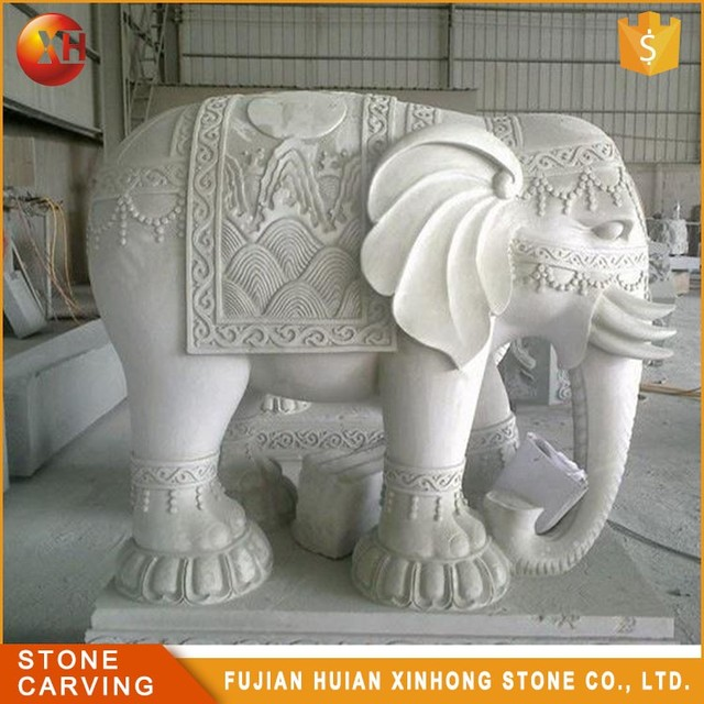 Large White Marble Outdoor Statue Stone Elephant Sculpture Carving