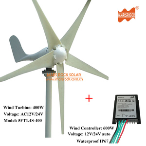 Cheapest Price High Quality 1 4m wheel diameter 12V/24V AC Output 5 Blades  400W residential wind turbine with 600W controller