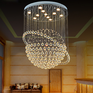 Modern Luxury Clear lustre Rain Chain Drop K9 LED Crystal Chandelier Lighting