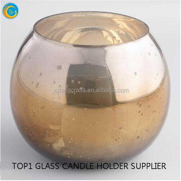 Ice Crack Pattern Round Glass Candle Holder Tealight Candlestick Silver