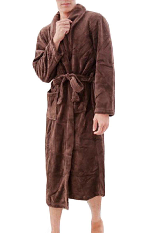 Get Quotations · Cruiize Mens Kimono Flannel Pocket Solid Warm Homewear Bathrobe  Robes 017ef392b