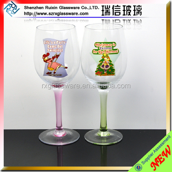 Custom wholesale logo decal painted decorative goblet for Decorative wine glasses cheap