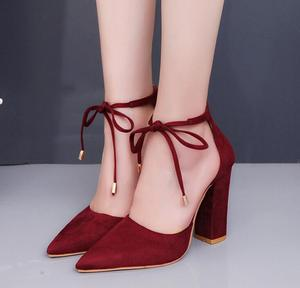 zm50128k Spring/summer 2017 top suede high heels lace up women's shoes thick and temperamental single shoes