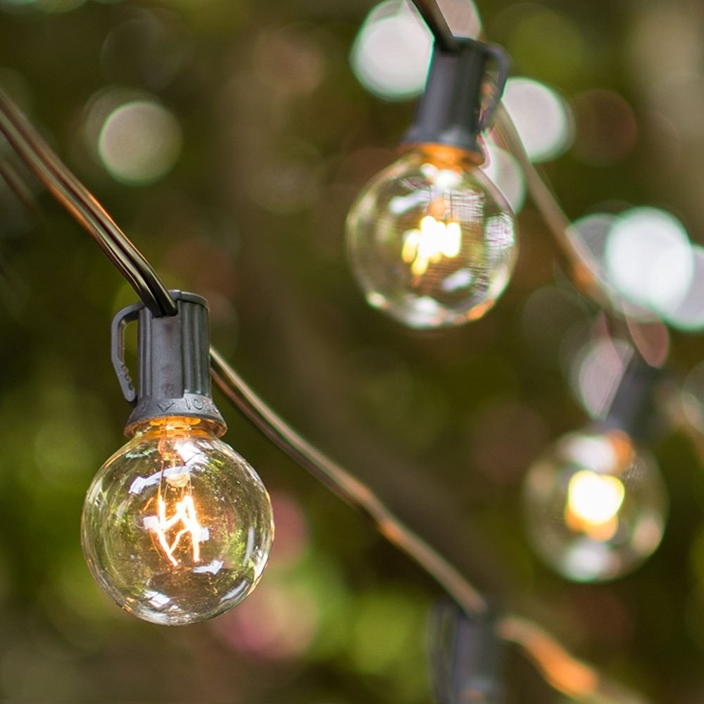 Globe String Lights, 1.5 Inch E12 G40 bulbs, 25 Foot Black Wire C7 Strand, End to End Connectable, Indoor Outdoor, Café Bistro String Lights, Wedding Venue, Restaurant, Event, Tent, Plug In (Clear)