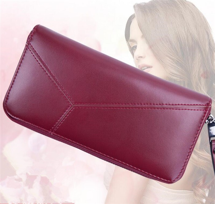 2017 New design korean wine red zippered soft pu leather clutch purse ladies wallet