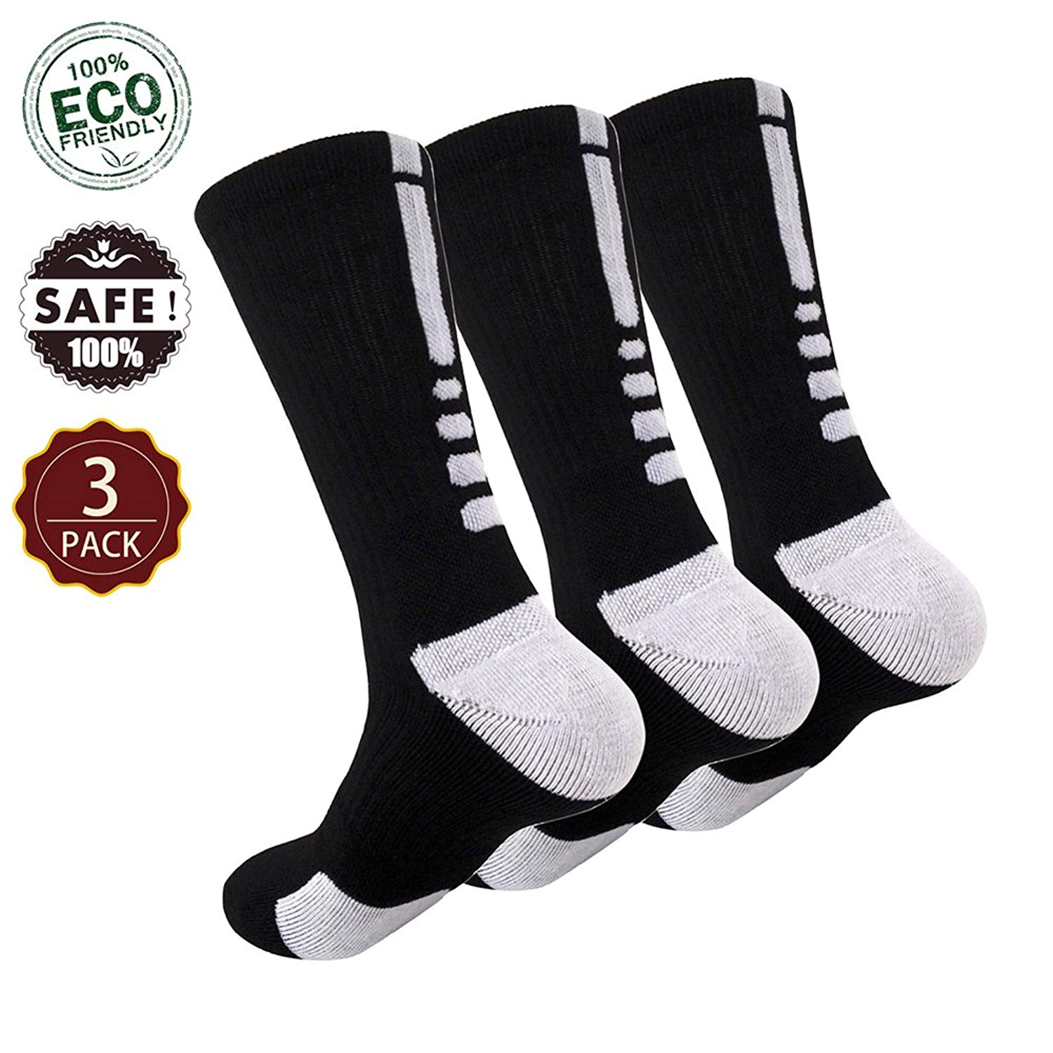 3fd97299f76 Get Quotations · Elite Socks Mens Basketball Socks 5 Pack Boys Athletic  Sports Outdoor Dri-Fit Compression Socks