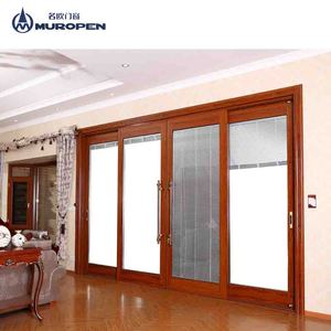 Australia system wooden color aluminum frame sliding door with german brand hardware for commercial house use
