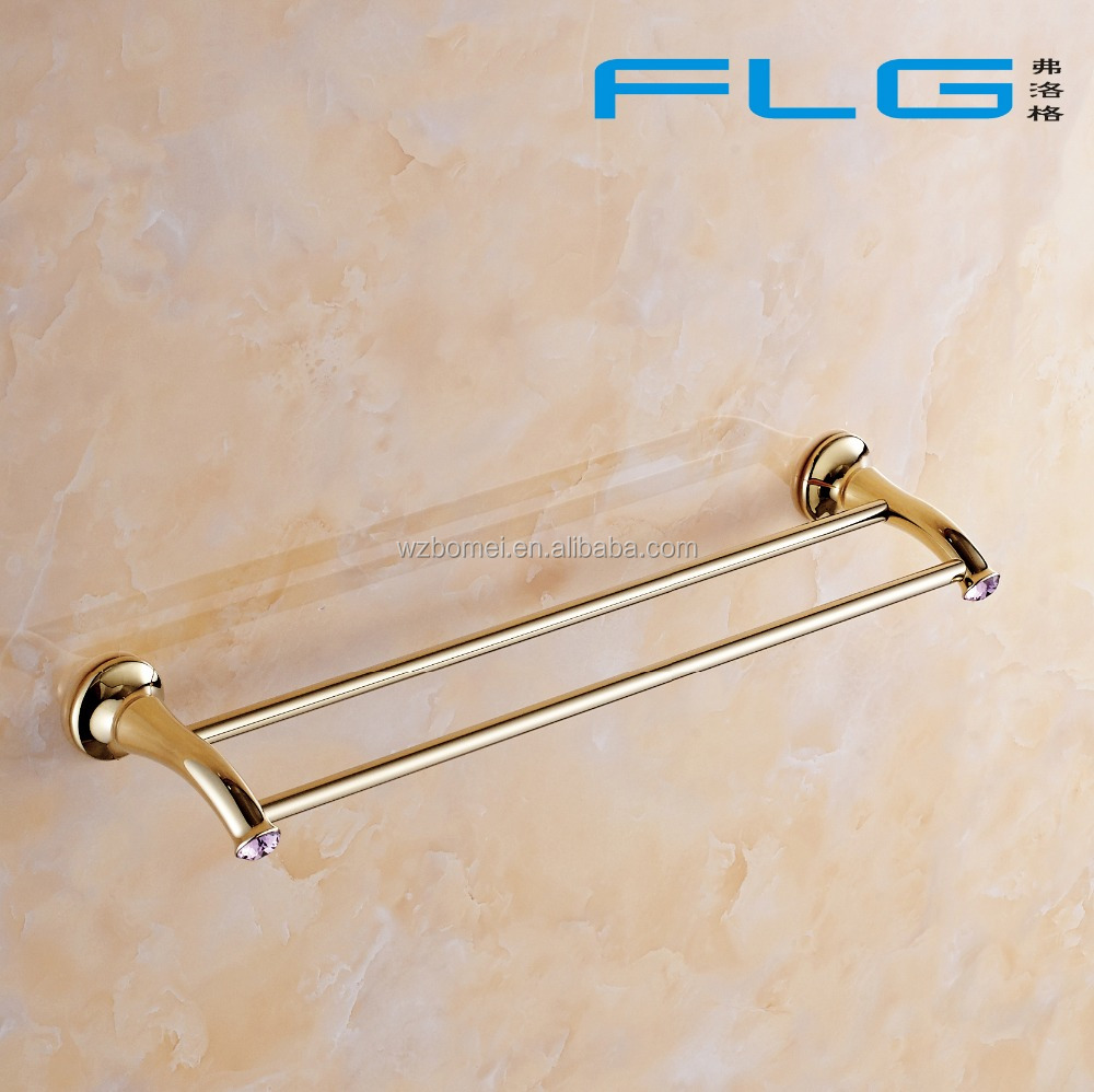 Household Hotel Use Wall Mounted Gold Towel Bar BM88448 Double Towel Bar Decorated With Purple Crystal
