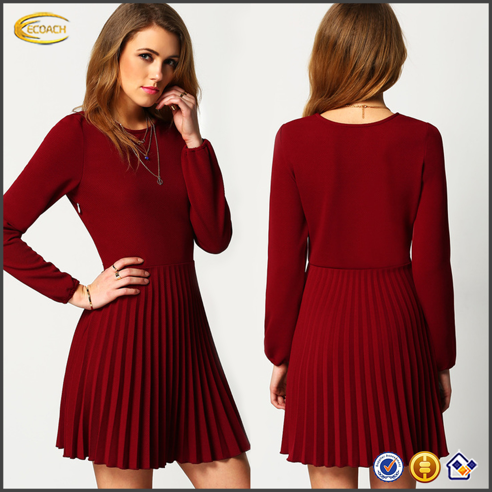 Ecoach fashion ladies fashion dresses with pictures Burgundy long sleeve latest dress patterns ladies pleated Dress