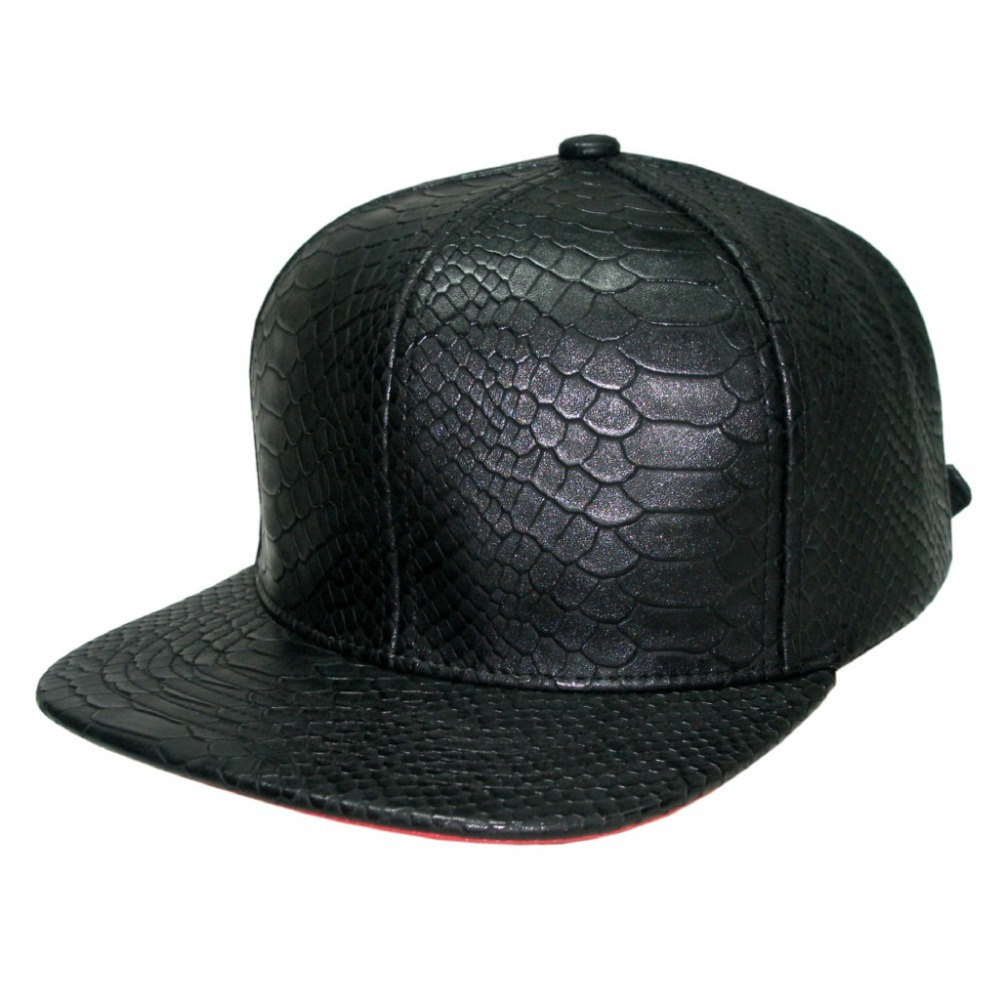 Get Quotations · Free Shipping Whole sale Unisex High Quality Blank  Snakeskin leather Snapback Cap Exclusive Flat Peak Fashion 451c6a9eb35