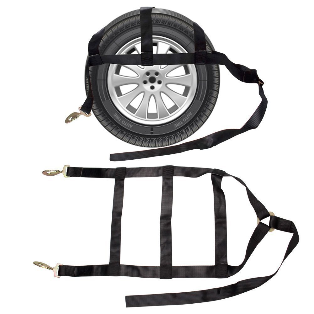 """Bang4buck 2 Pieces 2""""x 17.5"""" Tow Strap Race Car Hauler Tow Truck Wrecker Wheel Tie Down Strap with 12,000 Lb Breaking Strength (2""""x 17.5""""- Black- 2 Pieces)"""