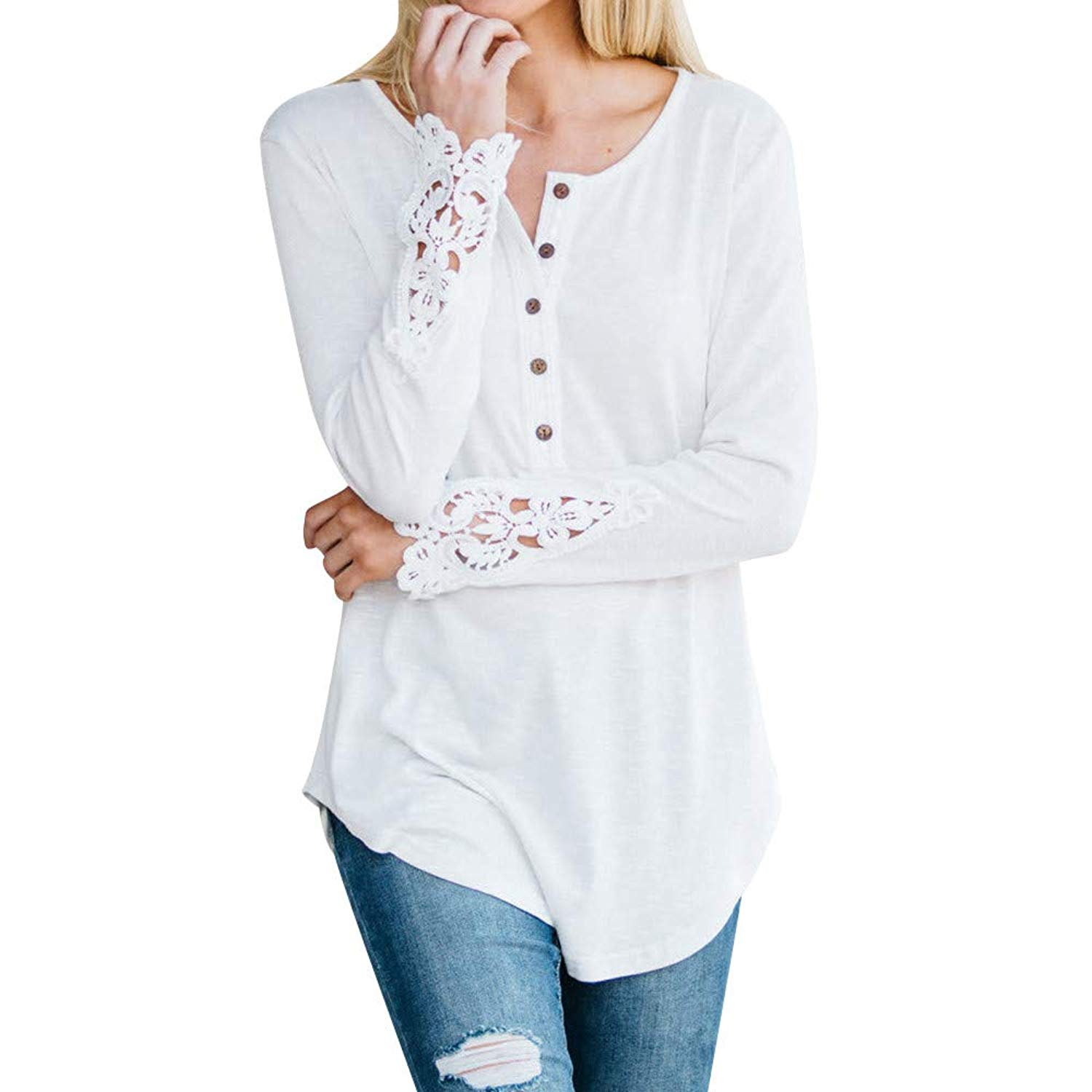 Women Tops, Owill Lace Patchwork Long Sleeve Floral Bottom Casual Blouse T-Shirt Top