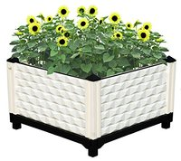 Suntour Assembled Large Raised Garden Bed Planter Box Elevated Plastic Square Planter For Flower Vegetable Grow Planting