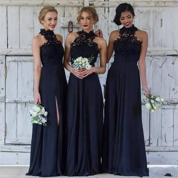 Zh3031g Marineblau Brautjungfernkleider Für Hochzeit Langer Chiffon