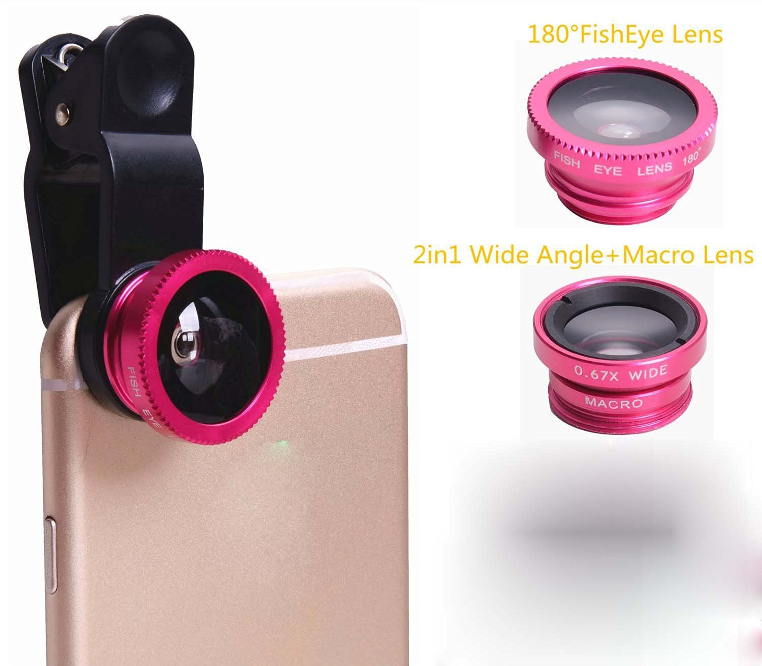Shinefuture Universal 3 in 1 180 degree Clip Fish Eye + Wide Angle + Macro Lens Clip Camera Photo Kit For iPhone 6S 6 5S Samsung Galaxy S6 Android and All Other Smartphones (Hot Pink)