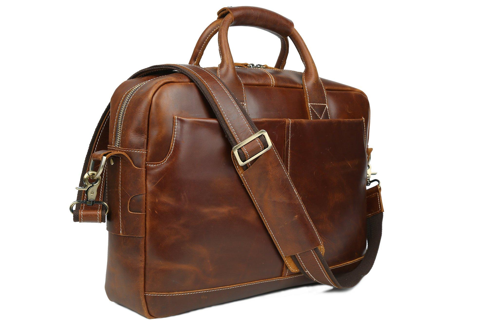 2937576a604d Get Quotations · Men s Leather Laptop Briefcase Vintage Satchel Shoulder  Tote Bag Attache Cases Portfolio Bag (Burgundy)