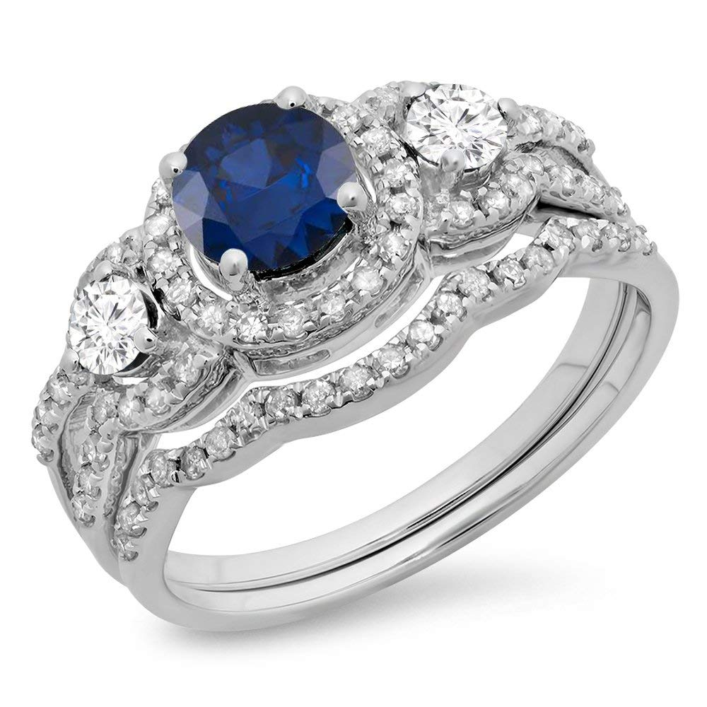 Dazzlingrock Collection 14K White Gold Blue Sapphire & White Diamond Ladies 3 Stone Halo Bridal Engagement Ring Set (Size 7)