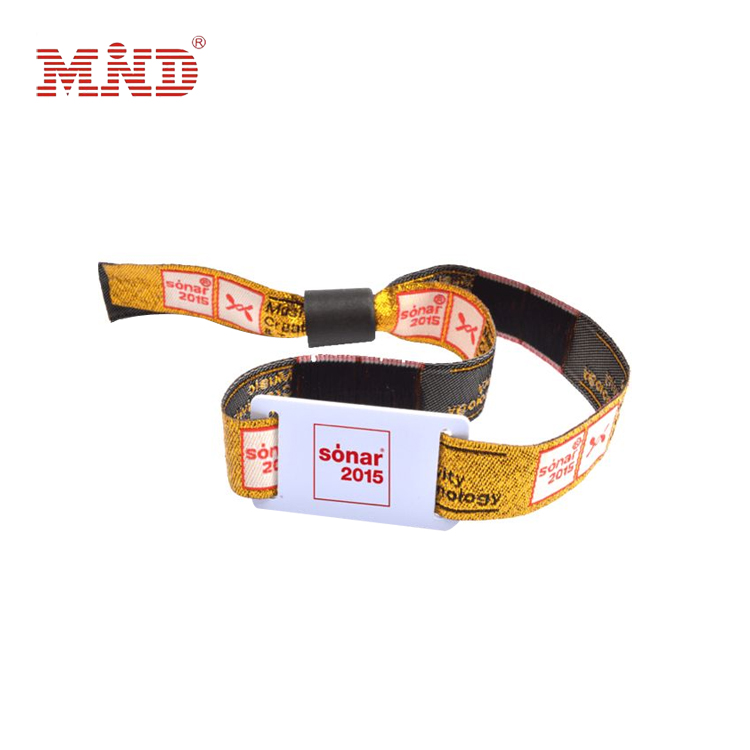 Cheap customized festival rfid woven wristband/fabric wristband for events