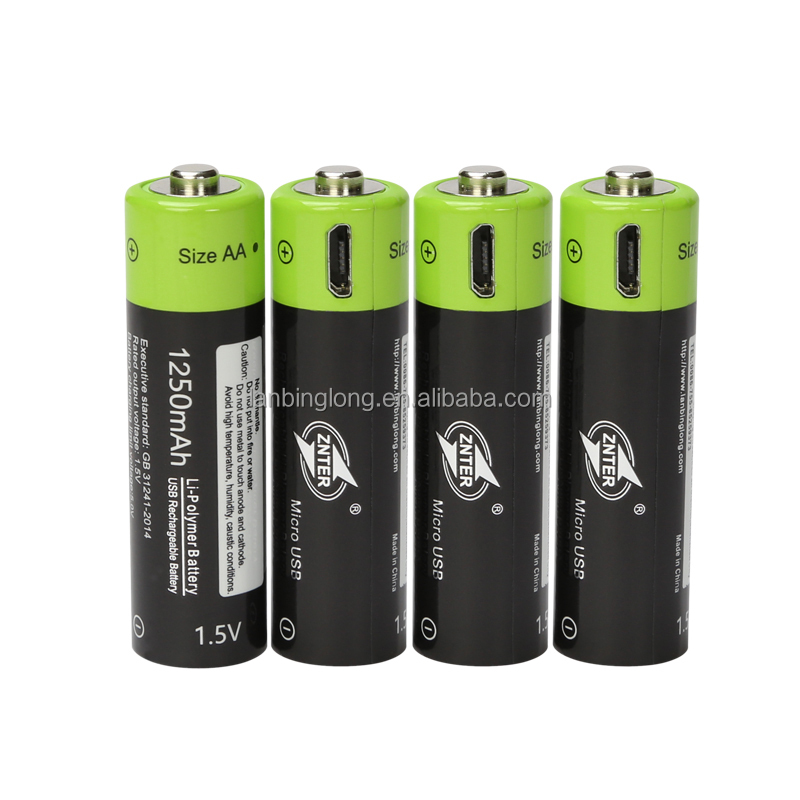 Environmental Rechargeable Lithium Batteries 1250mah AA Size 1.5V USB charge