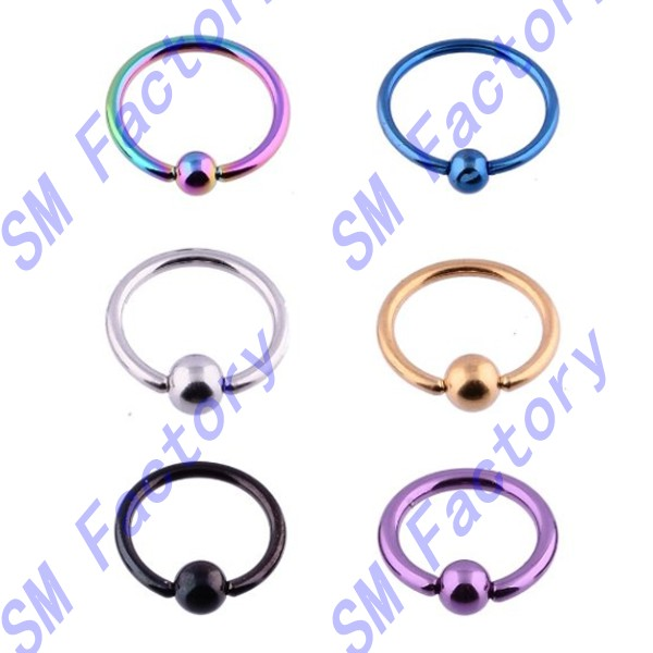 body piercing jewelry lots of 12pcs surgical stainless steel bcr cbr captive beads ring assorted color --SMY44024